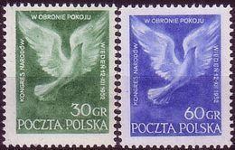 1952, Poland, Mi 789 - 790 Peace Congress, Vienna Peace Symbol - Pigeon MNH** - Ongebruikt