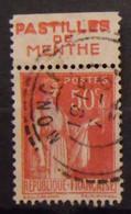 France N° 283 Paix Type II. Oblit. 50c Rouge. Timbre De Carnet. Bande Publicitaire Publicité Pub. - Publicidad