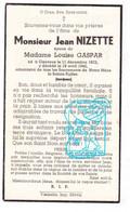 DP Jean Nizette ° Cierreux Gouvy 1872 † 1942 X Louise Gaspar - Andachtsbilder