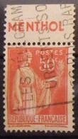 France N° 283 Paix Type I. Oblit. 50c Rouge. Timbre De Carnet. Bande Publicitaire Publicité Pub. - Publicidad