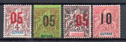 Guyane 67 à 69** 72** Adhérences - Unused Stamps