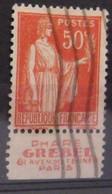 France N° 283 Paix Type I. Oblit. 50c Rouge. Grebel. Timbre De Carnet. Bande Publicitaire Publicité Pub. - Publicidad