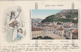 SWITZERLAND-SCHWEIZ-SUISSE-SVIZZERA-LOCARNO-BUON CAPO D'ANNO-PIAZZA GRANDE-CARTOLINA VIAGGIATA IL 30-12-1912 - TI Ticino