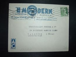 LETTRE TP M. DE GANDON 5F OBL.MEC .20 JUIL 47 LYON GARE RHONE (69) LE MODERN FER A REPASSER Jean CERNIGLIA - 1945-54 Marianne (Gandon)