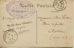 13563 -LOT -  CAHORS -  Guerre 14/18 -  HOPITAL AUXILLIAIRE 103 - CAHORS  UNION  DES FEMMES DE FRANCE  -circulée En 1915 - Cahors