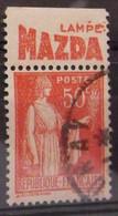 France N° 283 Paix Type I. Oblit. 50c Rouge. Timbre De Carnet. Bande Publicitaire Publicité Pub. - Advertising