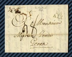 Lettre De MADRID (Espagne) Pour GÊNES (république Ligurienne) Par AIX (Bouche Du Rhone) -1797.  DOCUMENT TTB - ...-1850 Prephilately