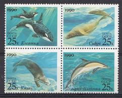 URSS 1990 Mi.nr: 6130-6133  Meeressäugetiere  Neuf Sans Charniere /Mint / Postfris - Ungebraucht