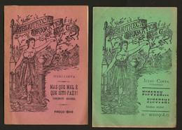 """Conjunto De 2 Folhetos TEATRO De CORDEL Autor JULIO COSTA """"Julinho"""" BIBLIOTHECA DRAMATICA (4 Paginas) Portugal 1900 - Programs"""