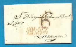 = ESPAGNE - Lettre De CALATAYUD Pour SARAGOSSE (Aragon) -1829 =- - ...-1850 Vorphilatelie