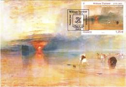 Carte Maximum YT 4438 William TURNER, La Plage De Calais à Marée Basse, 1er Jour 19 02 2010 TBE Cachet PARIS (75) - 2010-...