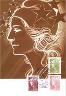 Carte Maximum YT 4473, 4475 Et 4478 Marianne De Beaujard 1er Jour 12 06 2010 TBE Paris (75) - 2010-...