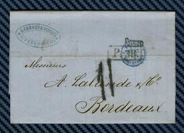 Lettre De SAINT-PÉTERSBOURG (Russie) Pour BORDEAUX (Gironde) -1871. Entrée Par Erquelines - 1849-1876: Periodo Classico