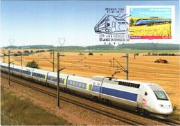 Carte Maximum YT 4592, 30e Anniversaire De La Mise En Service Du 1er TGV 1er Jour 27 09 2011 TBE Cachet PARIS (75) - 2010-...