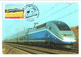 Carte Maximum YT 4592, Obl Spé Ill 10e Anniversaire De La Gare Valence TGV Rhône-Alpes Sud 15-16 Oct 2011 TBE 2 Scans - 2010-...