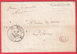 CAD TYPE 12 MELLE DEUX SEVRES 1836 CL EN ROUGE EN FRANCHISE POUR CHENAY - 1801-1848: Precursors XIX