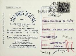 1954. Portugal. Cartão Postal Comercial Enviado De Santo António Das Areias - Annullamenti Meccanici (pubblicitari)