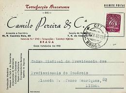 1953. Portugal. Cartão Postal Comercial Enviado De Braga - Annullamenti Meccanici (pubblicitari)