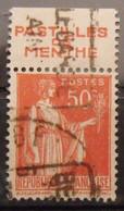 France N° 283 Paix Type II. Oblit. 50c Rouge. Timbre De Carnet. Bande Publicitaire Publicité Pub. - Advertising
