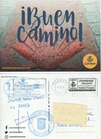 Tarjeta Prefranqueada - CAMINO DE SANTIAGO - TARJETA CIRCULADA. Marcas Oficina Turismo Y Albergue De Peregrino  Llanes - 1931-....