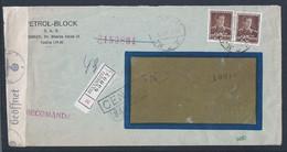 Carta Registrada Doble Censura Rumania Y Alemania. 2a Guerra Mundial. Petrol Block Rumania. Circulado Bucaresti / Berlim - 2. Weltkrieg (Briefe)