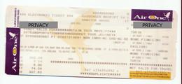 Alt1116 Air One Airways Billets Avion Ticket Biglietto Aereo Itinerary Receipt Imbarco Boarding Torino Roma Cagliari - Europa