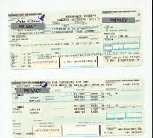Alt1114 Air One Airways Billets Avion Ticket Biglietto Aereo Passenger Itinerary Receipt Imbarco Boarding Torino Napoli - Europa