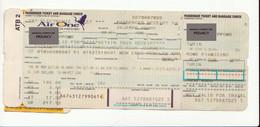 Alt1107 Air One Airways Billets Avion Ticket Biglietto Aereo Boarding Passenger Receipt Imbarco Torino Roma Fiumicino - Europa