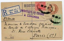 AMBASSADE DE FRANCE A LONDRES GRANDE BRETAGNE ENTIER ENV 1908 LONDON RECOMMANDEE - Brieven En Documenten