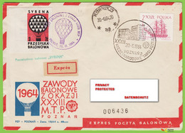 Voyo POLAND 1964 Balloon Mail SYRENA  Poznań-Kórnik Cat#39a - Ballonpost