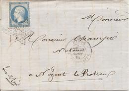 SEINE (60) LAC  PARIS OBLI ETOILE 17 R. TIRECHAPPE  Pour NOGENT LE ROTROU + AMBULANT - 1849-1876: Classic Period