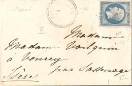 ORNE (59) ENV De  ESSAI (PERLE) OBLI  PC 1201 Sur NAP Pour VEUREY Par SASSENAGE + AMBULANT - 1849-1876: Classic Period