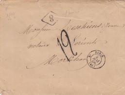 LETTRE.  PARIS. 5 MAI 66. N° 1342. 3°. + 8 MINISTERE FINANCE. TAXE TAMPON 12 POUR LORIENT. LIRE REMARQUE AU VERSO - 1849-1876: Classic Period