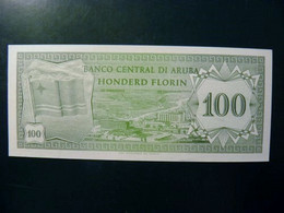 UNC Banknote Aruba 1986 100 Florin P-5 Flag Coat Of Arms - Aruba (1986-...)