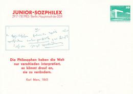 DPP 17/38 Junior-Sozphilelex 29.7.-7.8.1983 - Die Philosophen Haben Die Welt Nur Verschieden Interpretiert - Karl Marx - Postales Privados - Nuevos