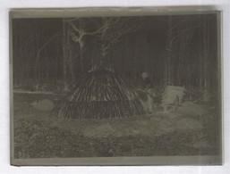 Photo Plaque De Verre Charbonnier Au Travail En Forêt Néga 6 X 9 Cm - Inversion Posi Pour Illustration De L'annonce - Diapositiva Su Vetro