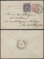 """EP Au Type Enveloppe-lettre 10ctm Rouge (n°46) + N°48 Obl Télégraphique """"Bruxelles (Législatif)"""" > St-Josse - Sobres-cartas"""