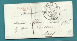 PAS DE CALAIS - ARRAS Pour Basseux. Lettre Locale. Cachet CL : CORRESPONDANCE Locale. 1835 - 1849-1876: Classic Period