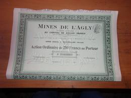 MINES DE L'AGLY (capital 600 000) Montpellier,hérault (1914) - Unclassified