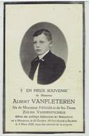Albert VANFLETEREN - Mouscron 1912 - Reckem 1928 - élève Du Collège épiscopal De Mouscron - Esquela