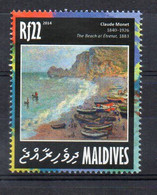 "Claude Monet, ""The Beach At Étretat"" 1883 - (Maldives 2014) MNH (1W3291) - Impressionismo"