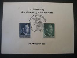 Deutsches Reich Besetzungen 1938/45- FDC 2. Jahrestag Des Generalgouvernement Mit SStp. Radom Mi. 73 Und 80 - Occupation 1938-45