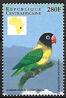 Central Africa - MNH ** 1999 :  Yellow-collared Lovebird  -  Agapornis Personatus - Papegaaien, Parkieten
