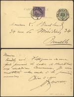 """EP Au Type 5ctm Vert + N°48 En Expres Obl Télégraphique """"Bruxelles (Est)"""" > Bruxelles - Postales [1871-09]"""