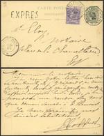 """EP Au Type 5ctm Vert + N°48 En Expres Obl Télégraphique """"Bruxelles (Centre)"""" > La Ville çàd Obl Télégraph. """"Bruxelles (B - Postales [1871-09]"""