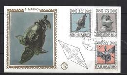 St Marin:  869 - 870 - 871 Sur FDC Soie - FDC
