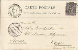 SAGE 10C TYPE PHILIPPEVILLE 1 NOV 1898 CONSTANTINE CARTE DE TLEMCEN A NUAGE POUR SUISSE PEU COMMUN AVANT 1900 - 1877-1920: Periodo Semi Moderno