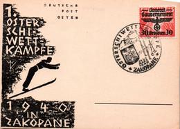 POLAND / Generalgouvernement 30 Auf Sonderkarte Schi-Wettkämpfe Zakopane Sonderstempel - Generalregierung