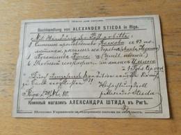 K14 Russia Russie 1880 Formularkarte Einer Buchhandlung Von Riga Nach St. Petersburg - Covers & Documents
