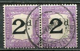 Union Of South Africa Postage Due, Südafrika Portomarken Mi# 3 Gestempelt/used - Pair - Segnatasse